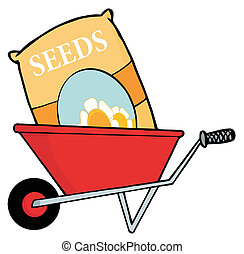 Bag Of Flower Seeds In A Wheel Barrow