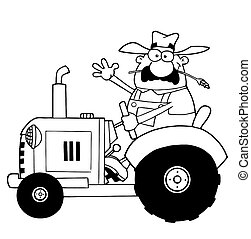 Outlined Farmer Waving And Driving A Tractor