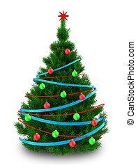 3d dark green Christmas tree - 3d illustration of dark green...