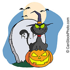 Halloween Cat on Pumpkin - Black Cat Wearing A Witch Hat And...