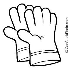 contorno, jardinería, mano, guantes