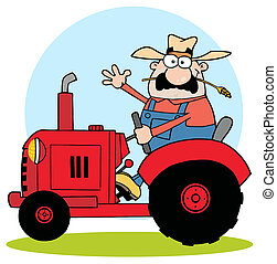 Farmer In Red Tractor - Friendly Farmer Waving And Driving A...