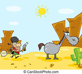 Cowboy Escapes To His Horse - Robber Running Towards His...
