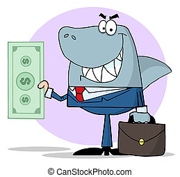 Business Shark Holding Cash - Shark Businessman Holding Cash...
