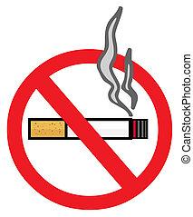 No Smoking Sign - Smoking Cigarette On A No Smoking Sign
