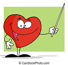 Red Heart Holding A Pointer Stick