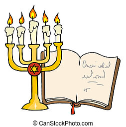Golden Menorah And Book - Golden Menorah Lampstand And Book