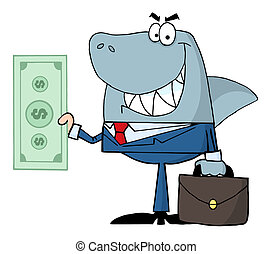 Shark Businessman Holding A Dollar - Smiled Business Shark...
