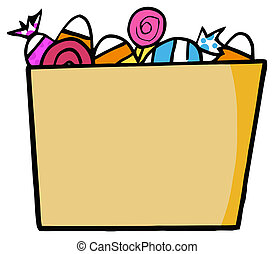 Cartoon Halloween Bucket Of Candy - Trick Or Treat Bucket Of...