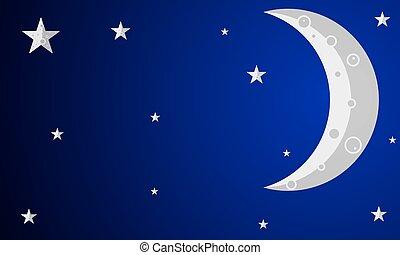 gray crescent with stars - Gray crescent with stars, vector...