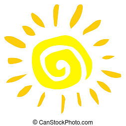 Abstract Sun - Yellow Painted Style Spiral Sun