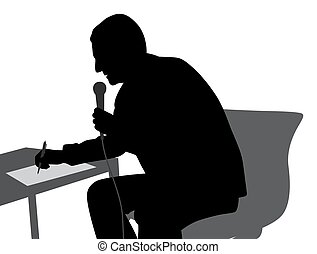 Speaker speaking writing conducting the event - Illustration...