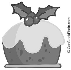Pudding - Grayscale Holly Topped Christmas Pudding