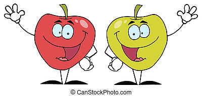 Two Apple Characters Waving - Happy Cartoon Apples Waving A...