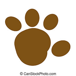 Brown Paw Print Silhouette - Cartoon Brown Paw Print...