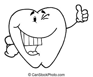 Happy Smiling Tooth - Outlined Dental Tooth Character...