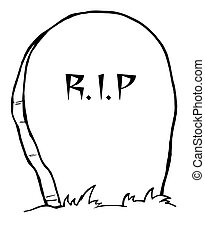 Tombstone - Coloring Page Outline Of A Stone RIP Tombstone...