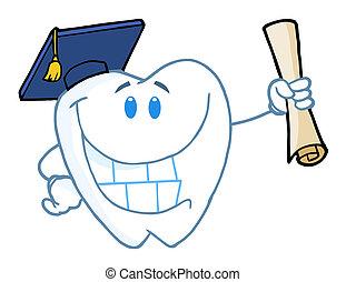 graduado, diente, tenencia, Un, Diploma