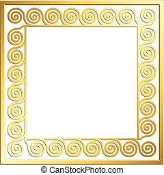 Traditional vintage gold Greek ornament, Meander - Square...