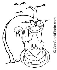 Outlined Cat on Pumpkin - Outlined Halloween Cat on Pumpkin...