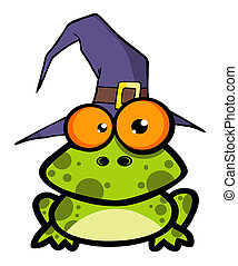 Frog With A Witch Hat  - Green Frog With A Witch Hat