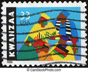Kwanzaa - USA - CIRCA 1997: A stamp printed by USA devoted...