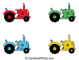 Digital Collage Of Farm Tractors - Digital Collage Of Red,...