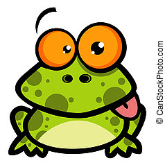 Little Frog Cartoon Character - Goofy Spotted Frog Hanging...
