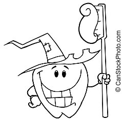 Outlined Smiling Halloween Tooth - Outlined Tooth Character...