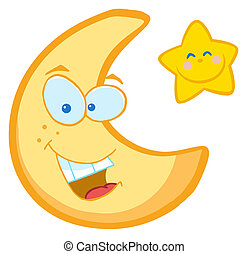 Moon And Star Cartoon Characters - Friendly Crescent Moon...
