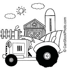 Farm Tractor In A Pasture - Outlined Farm Tractor In A...