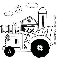 zagroda, traktor, w, à, pasza