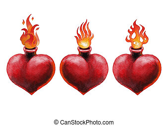 Watercolor flaming heart - Watercolor set of flaming hearts...
