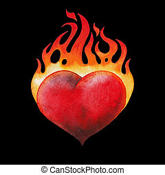 Watercolor flaming heart isolated on black background. Hand...