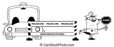 Outlined Traffic Police Officer