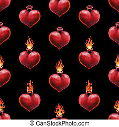 Watercolor flaming heart isolated on white background. Hand...