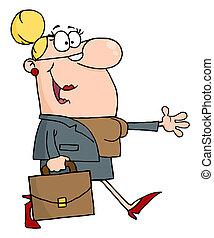 Smiled Businesswoman Walking