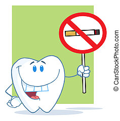 Tooth Character Holding A No Smokin