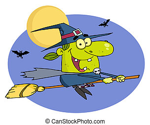 Happy Halloween Witch Flying