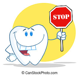 Tooth Character Holding A Stop Sign Over A Yellow Circle