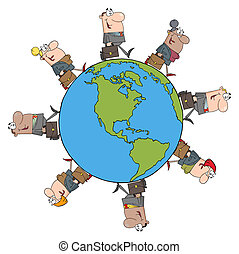People Walking Around Globe - Happy Business People Walking...