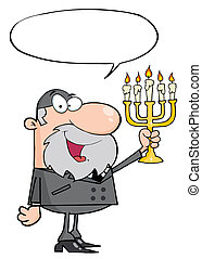 Rabbi Man Holding Up A Menorah, With A Word Balloon