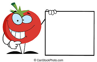 Happy Tomato Character Holding Up A Blank Sign With One Hand