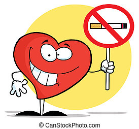 Red Heart Holding A Smoking Prohibited Sign
