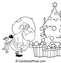 Outlined Dog Biting Santas