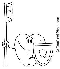 Outlined Happy Smiling Tooth