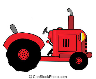 Red Farm Tractor - Illustration-Vintage Red Farm Tractor