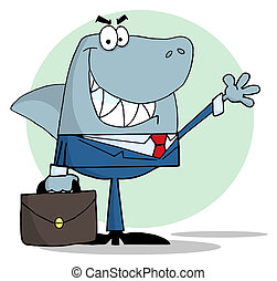 Business Shark Waving A Greeting - Shark Businessman...