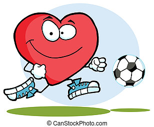 Red Heart Chasing A Soccer Ball