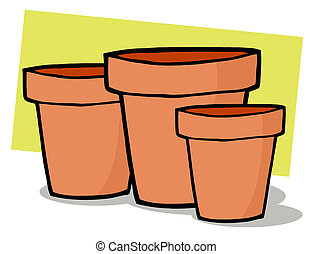 Terra Cotta Pots  - Three Terra Cotta Pots